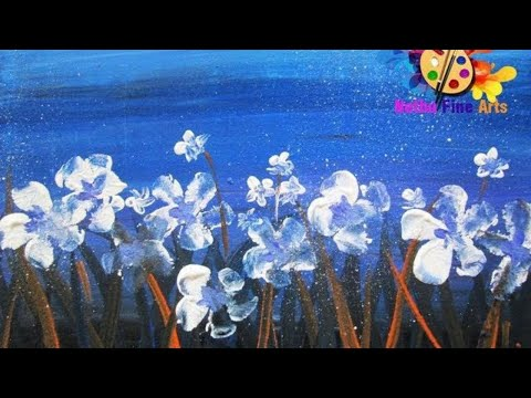 how to draw abstract painting flowers – one stroke painting- round brush painting technique