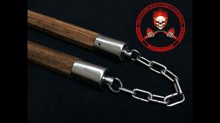 Côn nhị khúc gỗ Lim trục xoay dây xích LH: 1900.0114 | http://www.nunchaku.pro/