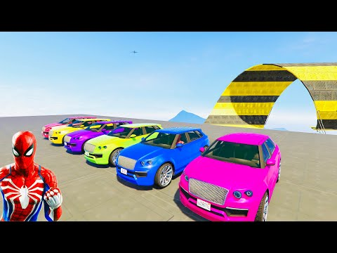 Super Sports Cars SUV on Glass Sliders 3D Animated Gameplay Videos #03   Game   Cars Gameplay GTA 5