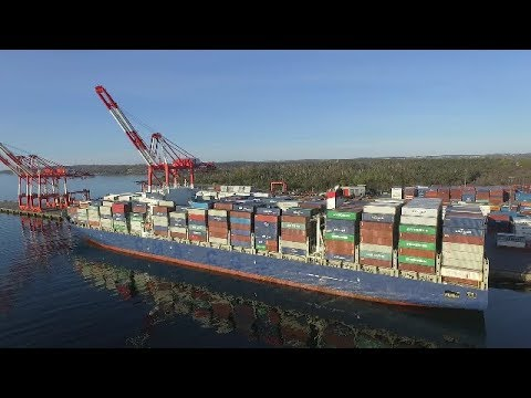 Aerial Video - Large Container Ship APL DANUBE Docked at Halterm - Port of Halifax
