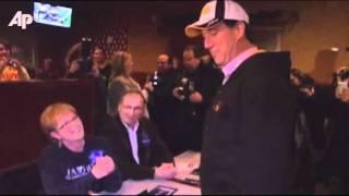 Raw Video: Santorum Glitter Bombed in Iowa
