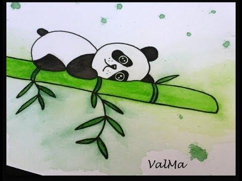 Dessin Aquarelle Kawaii Panda Sur Son Bambou Facile Débutant