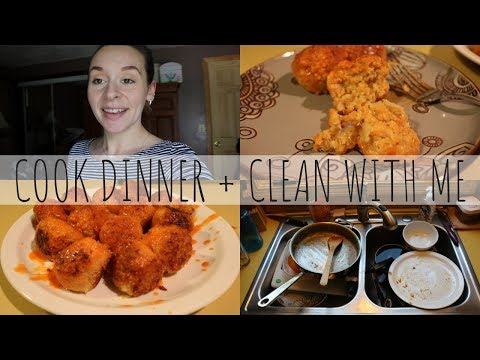 COOK DINNER + CLEAN WITH ME | QUINOA BUFFALO BITES | VEGETARIAN | PRODUCTIVE SAHM