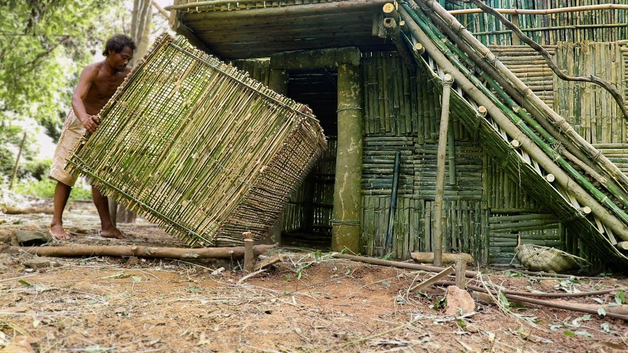 Primitive Technology: Unbelievable! Making A Giant Primitive Bamboo Trap At Mountain Forest