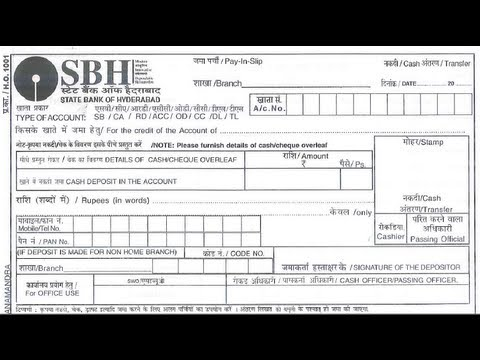 sbi cash deposit form download pdf  IN-How to Fill deposit slip of State Bank of Hyderabad