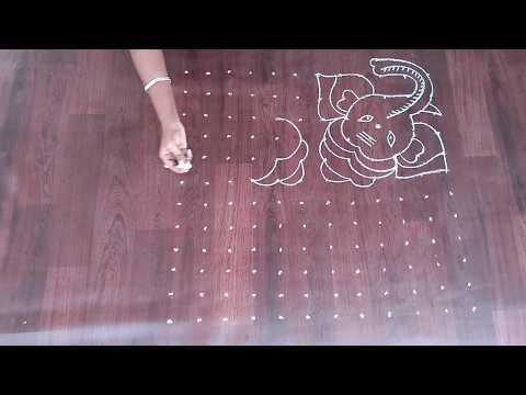 dot rangoli for ganesh festival vinayagar kolam with dots vinayaka chavithi muggulu ganpati rangoli