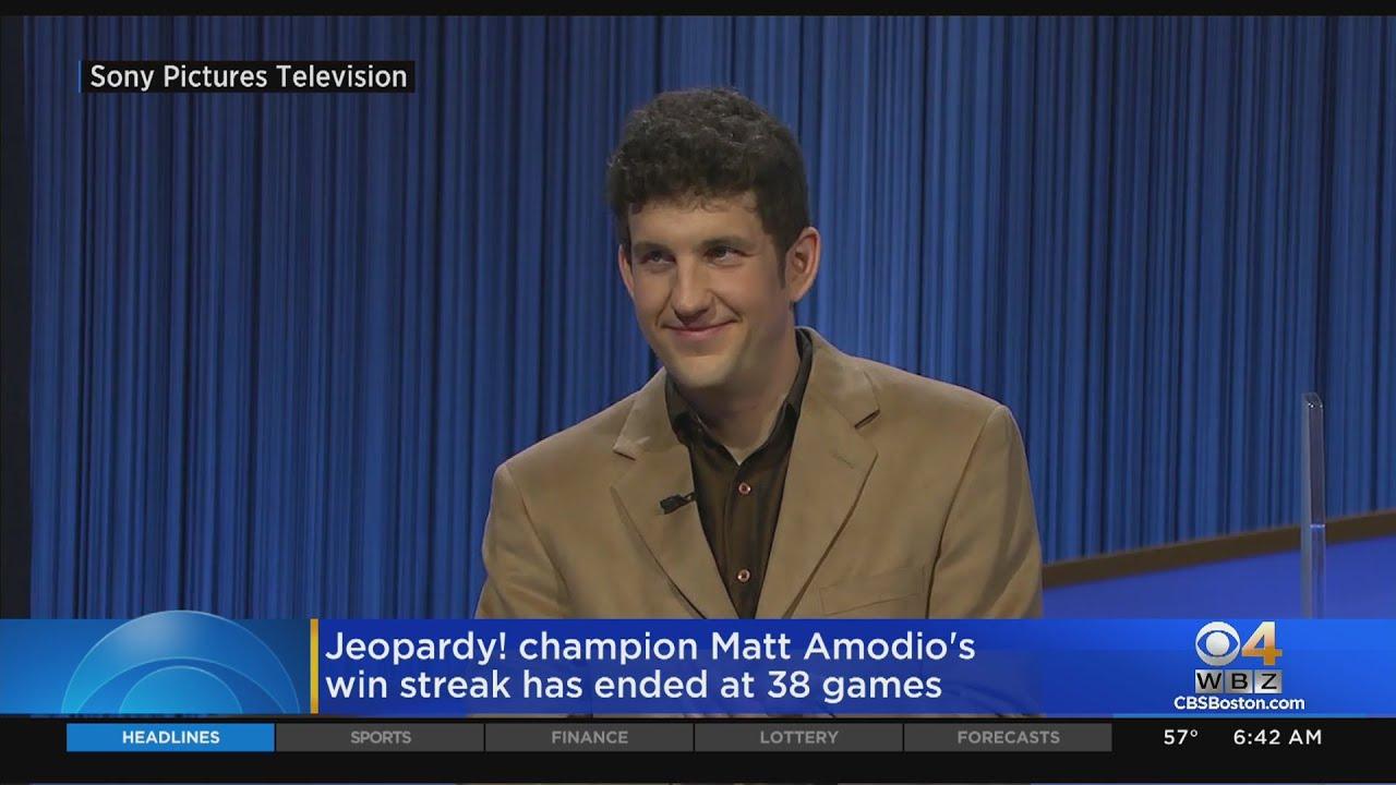 Matt Amodio's history-making run on TV's 'Jeopardy!' ends