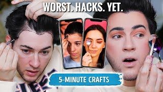 TESTING CRINGEY 5 MINUTE CRAFTS MAKEUP HACKS... they REALLY tried it