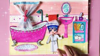Giới thiệu NGÔI NHÀ BÚP BÊ MÀU HỒNG bằng giấy (Phòng Tắm) - Paper doll house