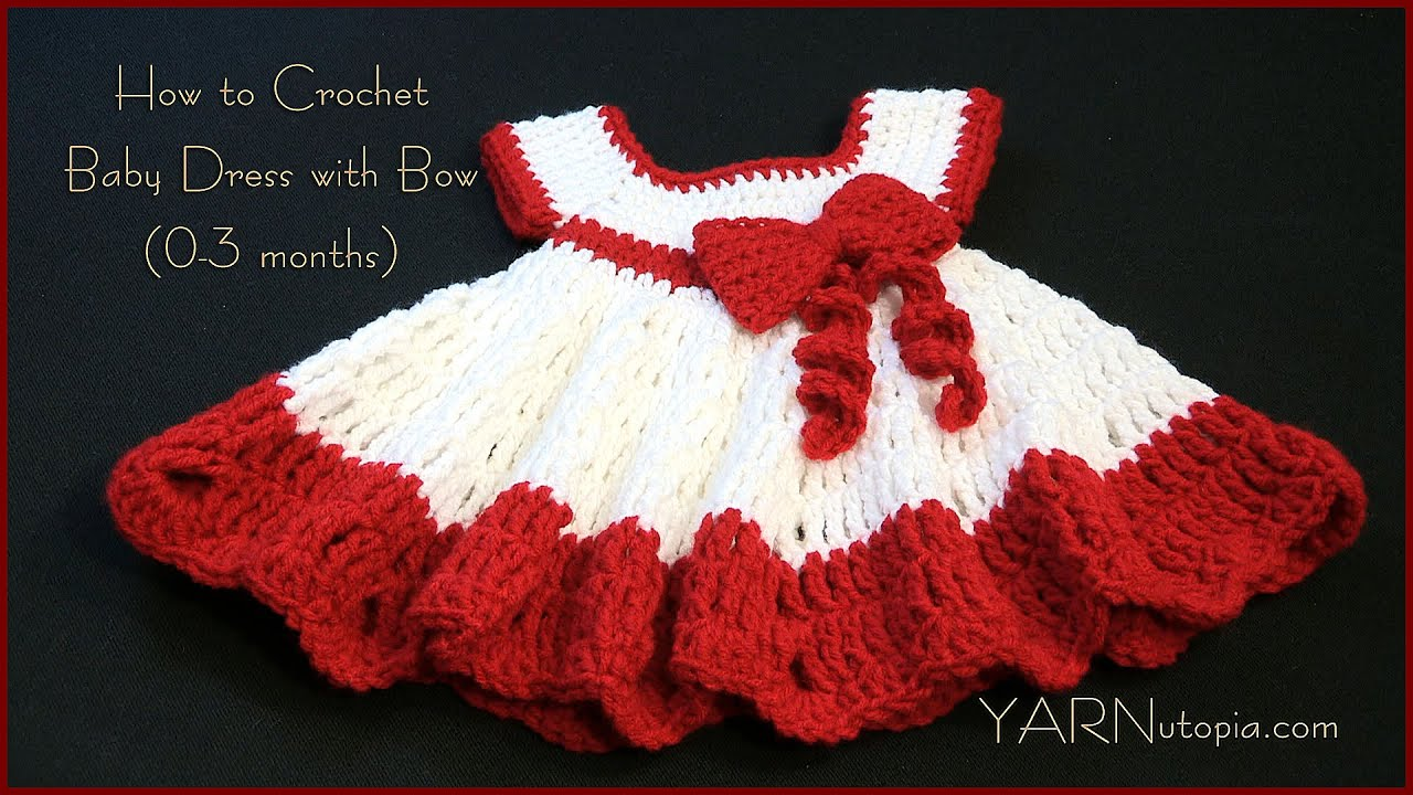 How To Crochet A Baby Dress With A Bow Youtube