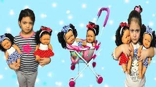 MASAL VE ÖYKÜ İKİZ BEBEKLERE BAKMAKTA ZORLANIYOR! Eğlenceli Çocuk Videosu - Toy Videos for Kids