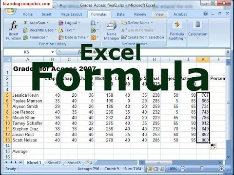 how to make ms excel formula with ms office 2007 youtube