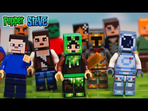 LEGO Minecraft Skin Pack 1 & 2 Unboxing Review Building Kit Toy 853610 Set Puppet Steve