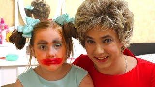 Matilda mess up pretend play with mom makeup