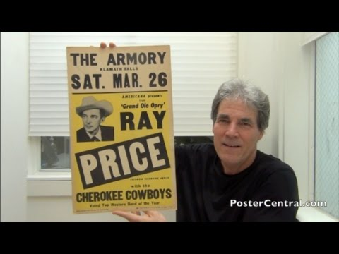 Ray Price Concert Posters 1950s All-Time Country Music Legend