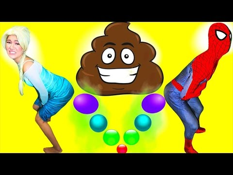 Spiderman & Frozen Elsa POO COLORED BALLS - Funny Super Heroes In Real Life