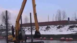 Cleantec Infra Amphibious Excavator With 50 Feet Boom Dipper For Desilting Of Jhelum River