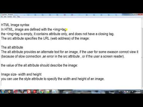 HTML Images Syntax,alt Attribute,Image Size   Width And Height Lesson=16