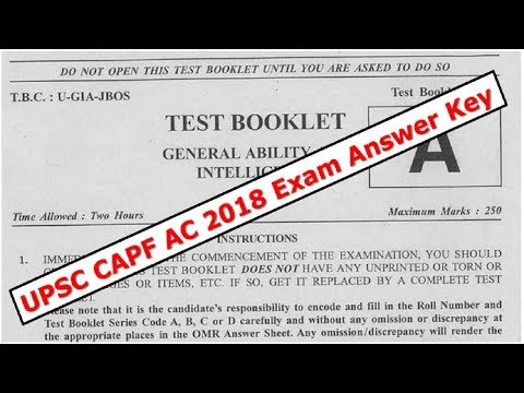 UPSC CAPF AC 2018 Exam Answer Key and Analysis of Polity & Current Affairs - GS Paper 1 by VeeR