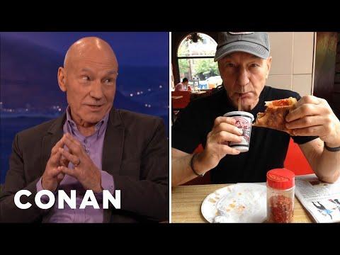 Sir Patrick Stewart Debunks His PizzaEating Rumor   CONAN on TBS