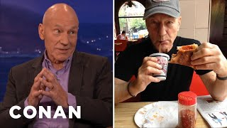 Sir Patrick Stewart Debunks His Pizza-Eating Rumor  - CONAN on TBS
