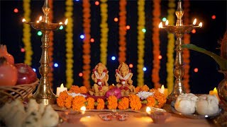 Pan shot of Hindu gods Laxmi and Ganesh on the occasion of Diwali festival in India
