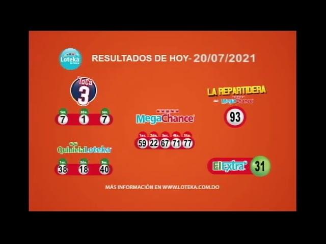 Loteka Lotería Electrónica Sorteo 07:55 PM 20-07-2021