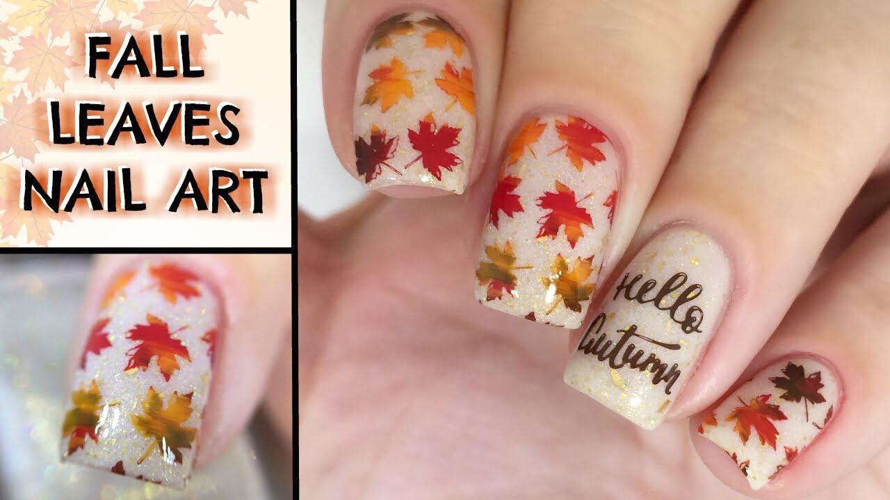 easy fall leaves nail art tutorial