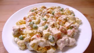 cooking RUSSIAN SALAD - Easy food recipes for dinner to make at home