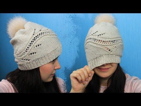 Женская шапка спицами.