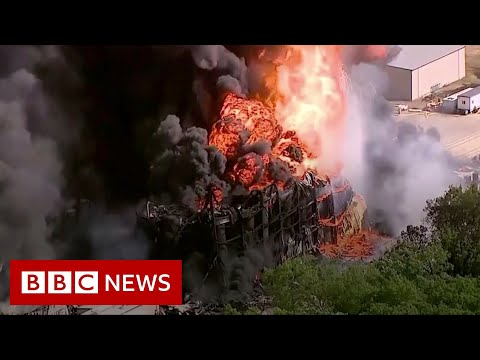 Huge chemical fire being left to go out on its own - BBC News