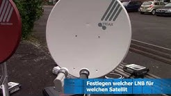 Ausrichten auf Astra 19,2°E und Eutelsat Hotbird 13°E mit einem Parabolspiegel und 2 separaten LNB