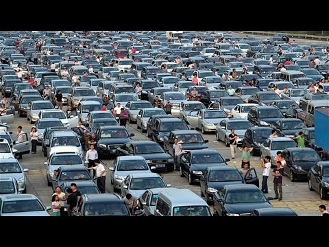 aerial images video of Chinese National Holiday express way traffic Jam society travel中國國慶節高速堵車航拍