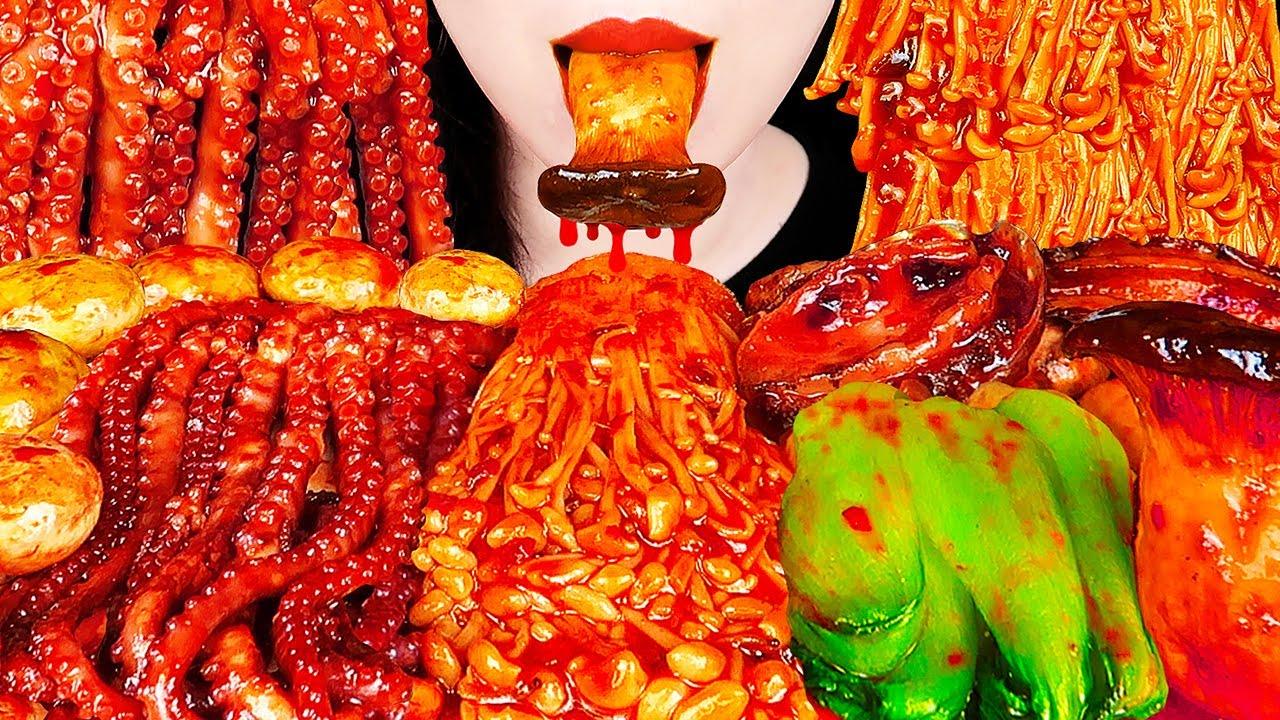 ASMR SPICY MUSHROOM PLATTER, OCTOPUS, ABALONE 팽이버섯, 매운 낙지, 전복먹방 ENOKI MUSHROOM COOKING&EATING SOUNDS