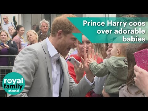 Prince Harry coos over adorable babies