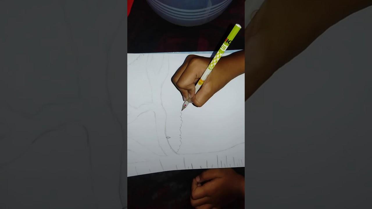 Cara menggambar pemandang an sketsa - YouTube