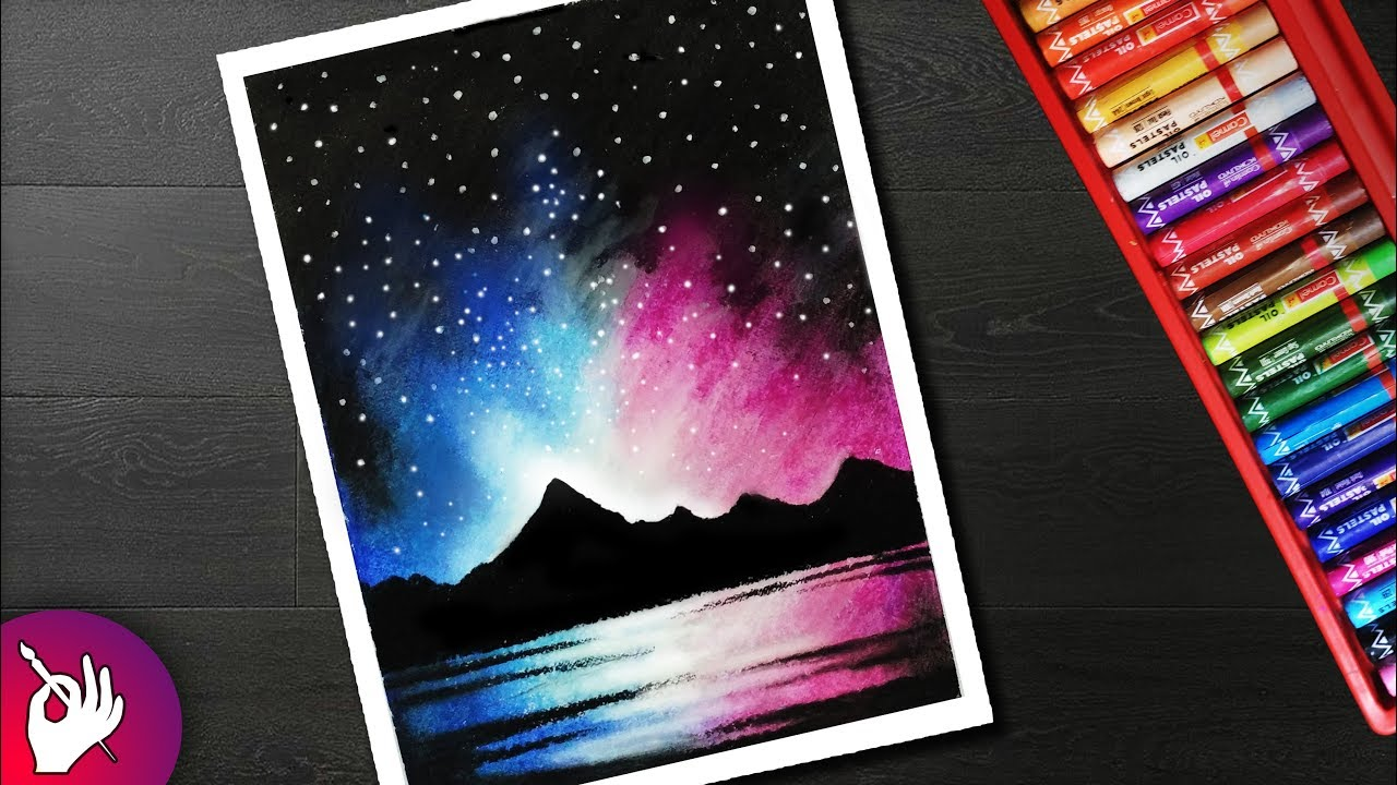 How To Draw Night Sky Mountain Scenery Drawing For Beginners With