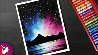 How to Draw night sky mountain scenery drawing for beginners with oil pastels