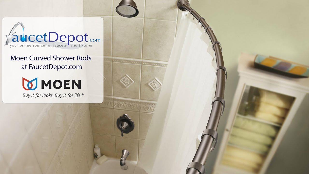 Moen Curved Shower Rods - YouTube