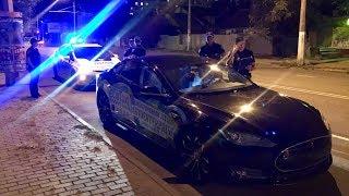 Полиция Tesla на встречке и мусорской жополиз