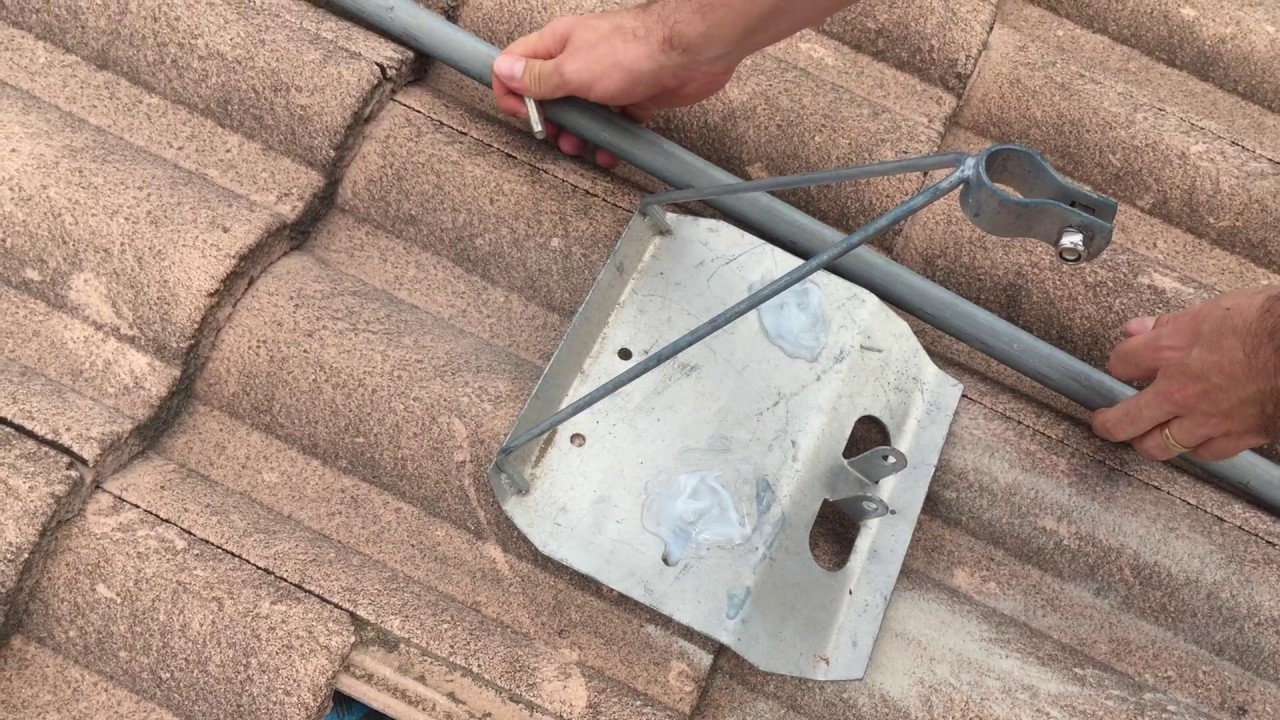 How To Install A Tile Roof Tripod Tv Antenna Mount Youtube
