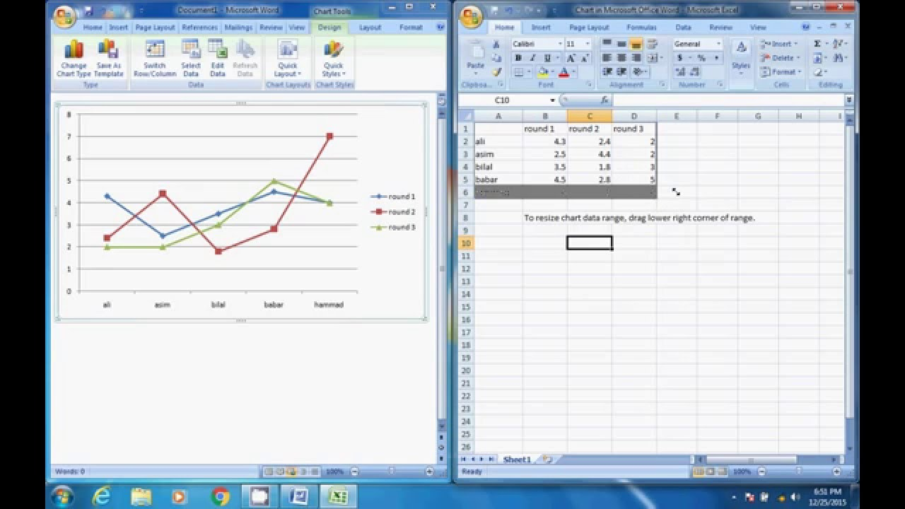 how to make line Graph on Microsoft Word (hindi/urdu) - YouTube