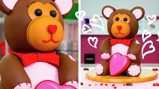 How To Make An Adorable TEDDY BEAR CAKE For Valentine's Day | Yolanda Gampp | How To Cake It