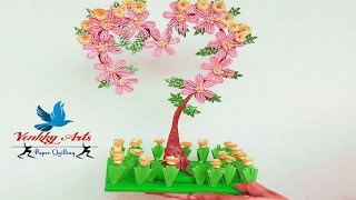 DIY | Paper quilling  heart shaped tree decoration with flowers | Paper Quilling Art