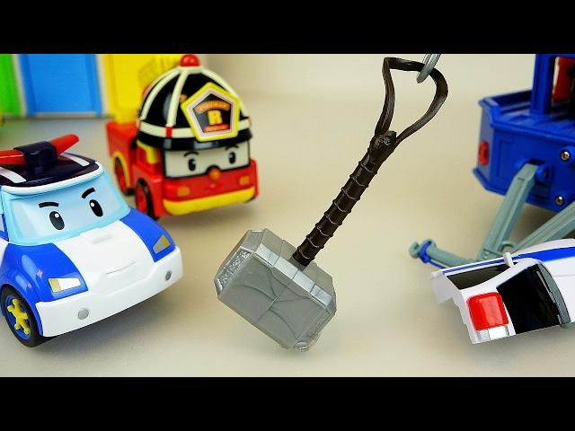 Thor hammer and Robocar Poli car toys