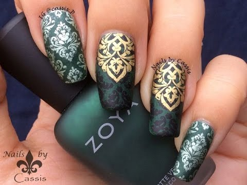 Green Damask Stamping Nail Art Youtube