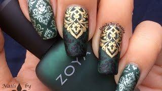 Green Damask Stamping Nail Art