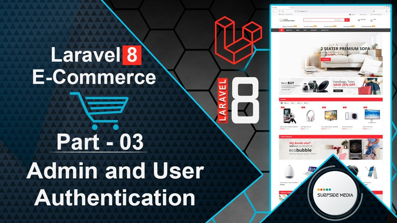 Laravel 8 E-Commerce - Admin and User Authentication