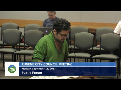 Eugene City Council Meeting: September 11, 2017 - Duur: 43:56.