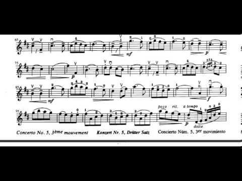 Concerto No 5, 3rd Movement F Seitz violin sheet music
